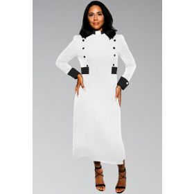 Women's Clergy Dress White with Black Designer Buttons