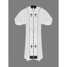 Clergy Pulpit Robe White with Free White/Black Stole