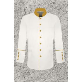 White and Gold Clergy Frock Jacket