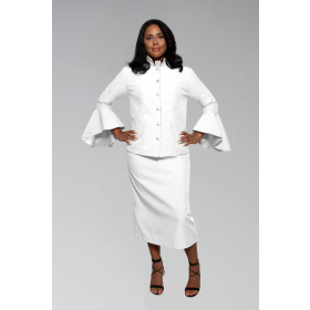 Ladies White Clergy Suit with Flared Sleeves