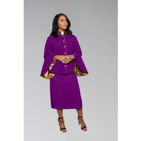 Women's Clergy Suit - Purple/Gold Flared Sleeve