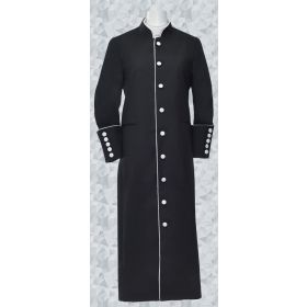 151. Men's Clergy Robe - Black and White Trim