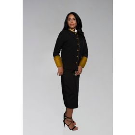 Ladies Clergy Suit in Black with Stately Satin Gold Cuffs