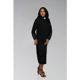 Ladies Clergy Suit in Black with Black Cuffs