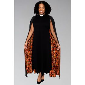 *Featured* Ladies Clergy Dress - Black with Modern Kente Cape