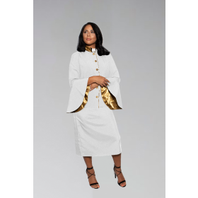 784 W. Women's Clergy Suit - White/Gold Flared Sleeve