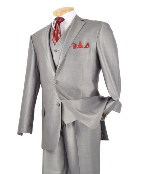 *Cyber Monday* Men's 3 Pc. Premium Sharkskin Suit Gray