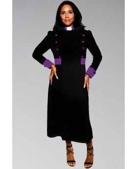 Women's Clergy Dress Black with Purple Designer Buttons