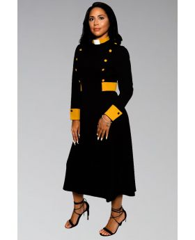 Women's Clergy Dress Black with Gold Designer Buttons