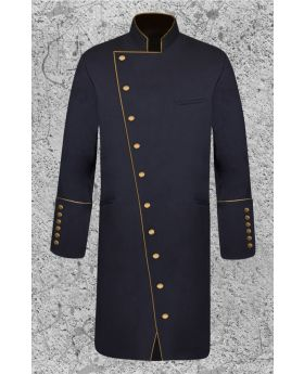 Men's Double Breasted Clergy Frock Jacket in Black and Gold with Three Quarter Length
