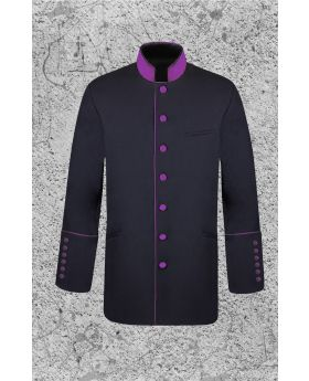 Men's Black and Purple Clergy Jacket