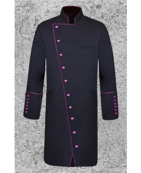 Men's Double Breasted Clergy Frock Jacket in Black and Purple with Three Quarter Length