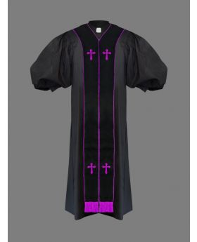Clergy Pulpit Robe Black with Free Black/Purple Stole