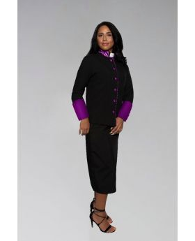 Women's Clergy Suit in Black with Purple Cuffs