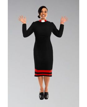 *Featured* Ladies Clergy Dress Black with Red Contrast