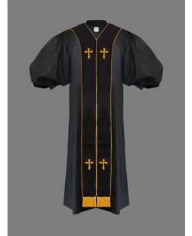 Clergy Pulpit Robe Black with Free Black/Gold Stole