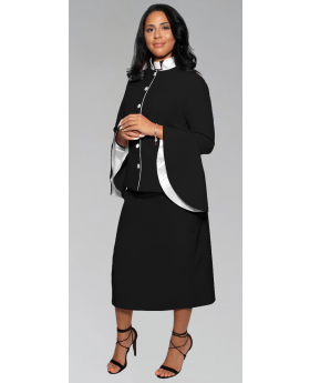 Black and White Women's Clergy Suit with Flared Sleeves