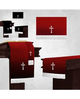 Communion Table runner with 3 piece altar parament set in Black and Burgundy with White fringe