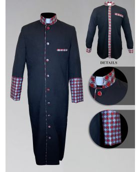 Men's Custom Fabric Clergy Robe - Black with Argyle Fabric