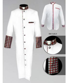 Men's Custom Fabric Clergy Robe - White with Argyle Fabric