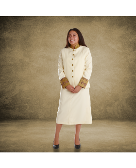 Ladies Creme and Gold Clergy Suit