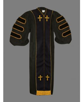 Dr. of Divinity Robe Black and Black/Gold Doctor Bars with Free Stole