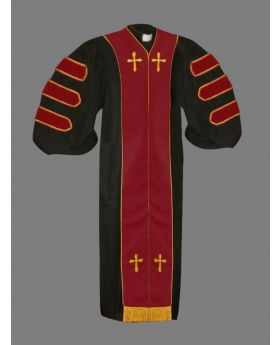 Dr. of Divinity Robe Black and Red/Gold Doctor Bars with Free Stole