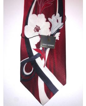 **Stacy Adams Premium Handmade Silk Neck Tie - Red Floral Designo