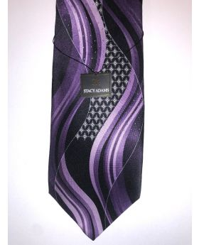 **Stacy Adams Premium Handmade Silk Neck Tie - Purple & Black Designo