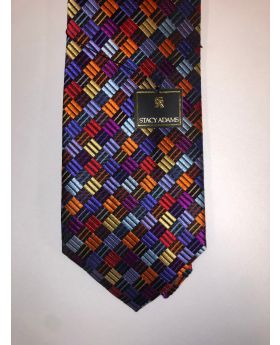 **Stacy Adams Premium Handmade Silk Neck Tie - Multi Color Checks
