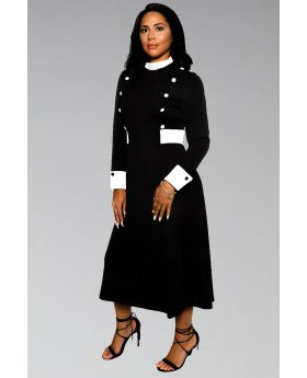 Women's Clergy Collar Dress in Black & White