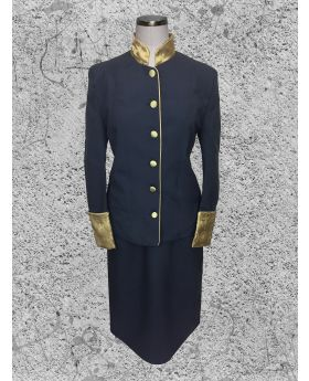 Black and Gold Clergy Suit for Women with Brocade