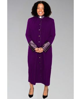 Ladies Clergy Robe Purple with Special Purple Brocade