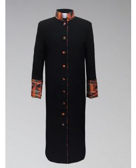 *Exclusive* Women's Clergy Robe - Black with African Kente Cloth