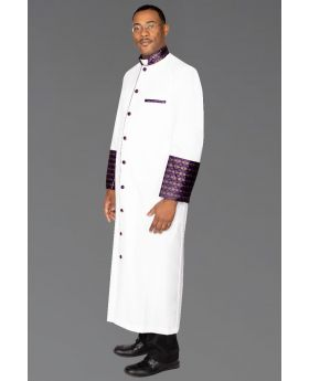 827 M. Men's Clergy Robe - White with Special Purple/Gold Brocade