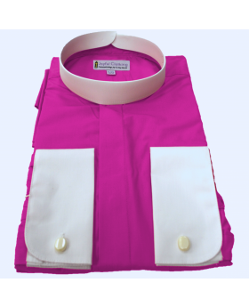 Men's Fuschia Banded Clergy Shirt w White Collar and French Cuffs