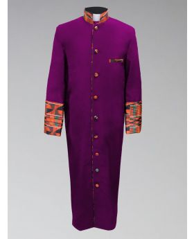 Men's Clergy Robe - Purple with African Kente Cloth