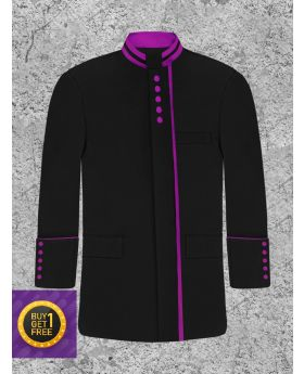 Black and Purple Bishops Clergy Jacket