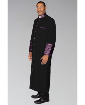 Men's Custom Clergy Robe Black with Purple and Gold Brocade
