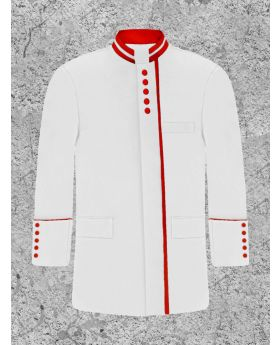 Men's White and Red Clergy Frock Coat