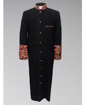Men's Black Kente Cloth Clergy Robe