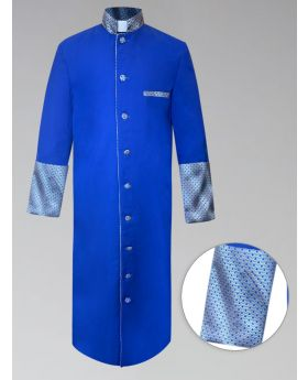 Mens Custom Brocade Royal and Gold Clergy Robe