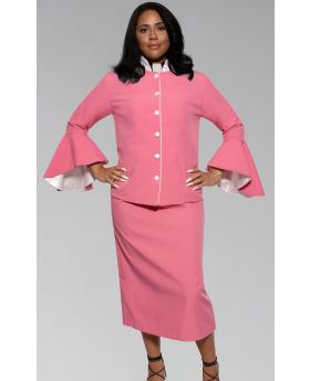 Women's Rose and White Clergy Suit with Flared Sleeves