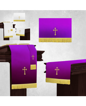 White and Purple Altar Parament Sets and Pulpit Scarf