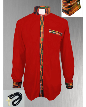 Red Clergy Shirt with African Kente Cloth Fabric