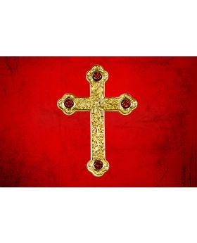 Gold Pectoral Apostle Cross with Red Stones