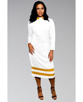 *Featured* Ladies Clergy Dress White with Gold Contrast