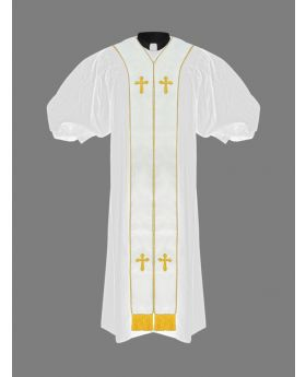 Clergy Pulpit Robe White with Free White/Gold Stole