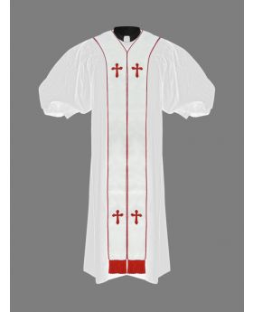 Clergy Pulpit Robe White with Free White/Red Stole