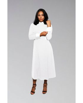 Women's Clergy Dress White with White Designer Buttons
